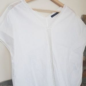 Zara Basic Cream Linen Top